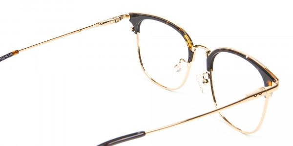 Square Tortoiseshell Browline Glasses - 4