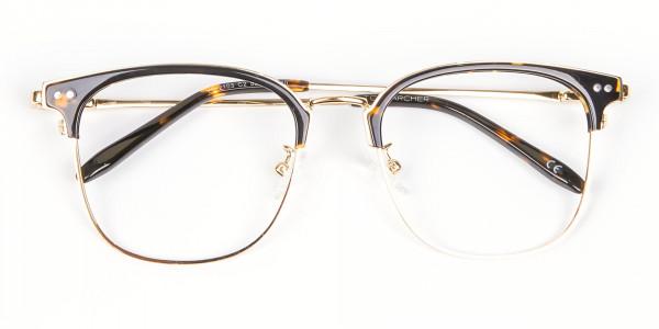 Square Tortoiseshell Browline Glasses - 5