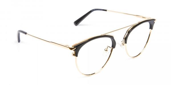 Black and Gold No-Nose Bridged Glasses - 2