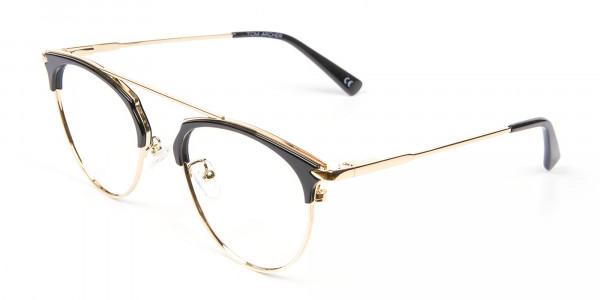 Black and Gold No-Nose Bridged Glasses - 3