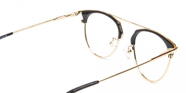 Black and Gold No-Nose Bridged Glasses - 5