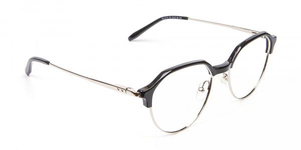 Unusual Shaped Glasses Black & Silver  - 2