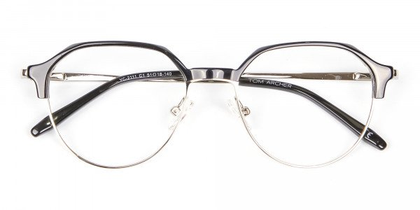 Unusual Shaped Glasses Black & Silver  - 6