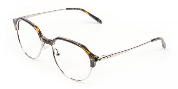 Havana & Tortoiseshell Browline Style Glasses - 3