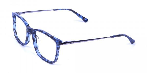 Men Women Rectangular Frame Blue Tortoise-3