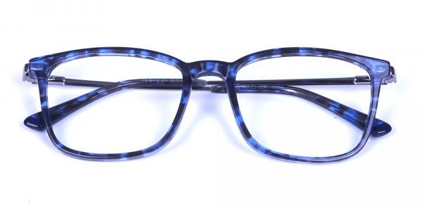 Men Women Rectangular Frame Blue Tortoise-6