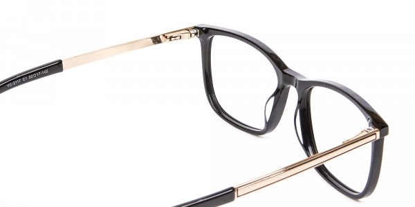 Black and Gold Multi-Material Frame in Wayfarer- 5