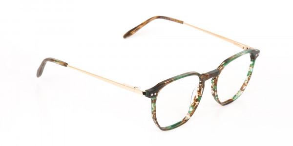 Jade Green & Brown, Gold Geometric Glasses-2