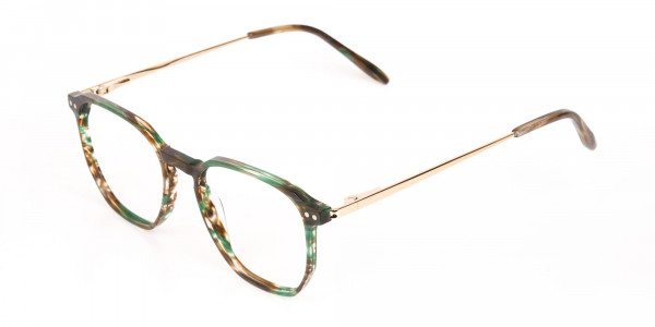 Jade Green & Brown, Gold Geometric Glasses-3