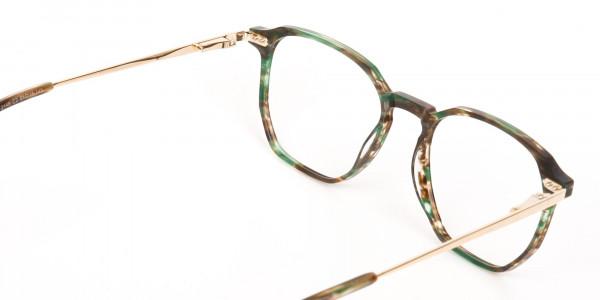 Jade Green & Brown, Gold Geometric Glasses-5