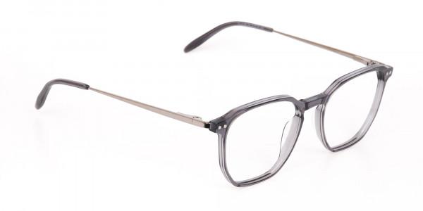 Silver Grey Geometric Eyeglasses Frame Unisex-2
