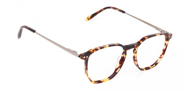 Tortoise Geometric Glasses Frame Unisex-2