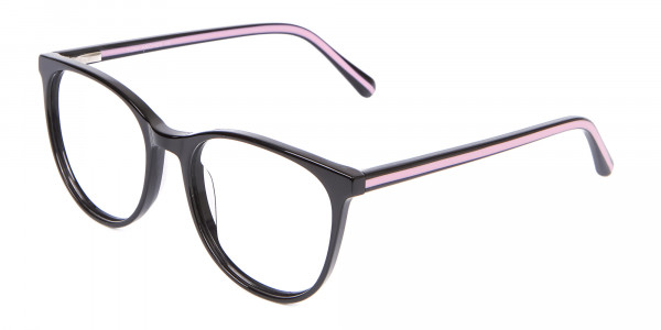 Retro Round Glasses in Black & Pink with Stripes - 3