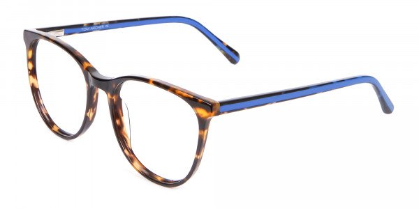Fashion Round Frame in Tortoiseshell & Blue - 3
