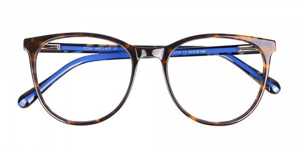 Fashion Round Frame in Tortoiseshell & Blue - 7