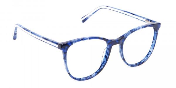 Fine-Detailed Round Frame in Blue Tortoiseshell - 2