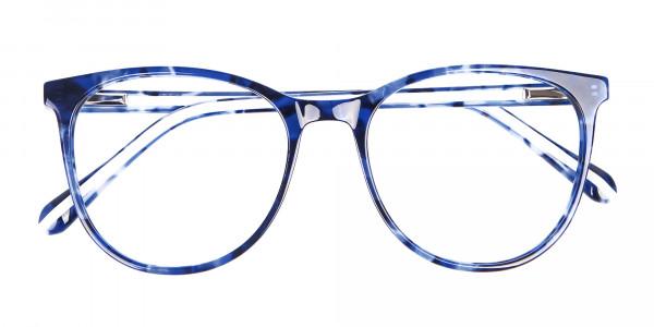 Fine-Detailed Round Frame in Blue Tortoiseshell - 6