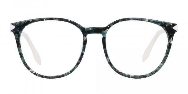 Emerald Green, Tortoise and White Round Glasses-1