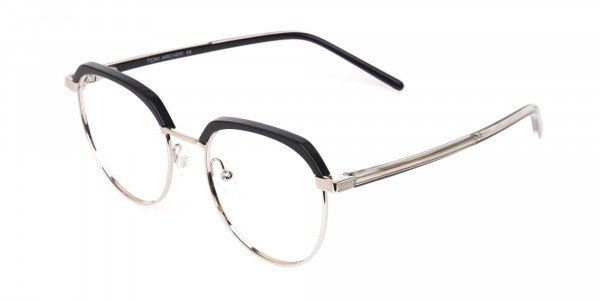 Black Silver Browline Glasses in Metal Unisex-3