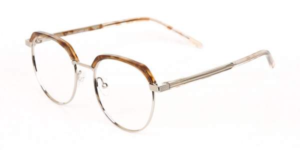Brown, Honey Tortoise & Silver Browline Glasses-3