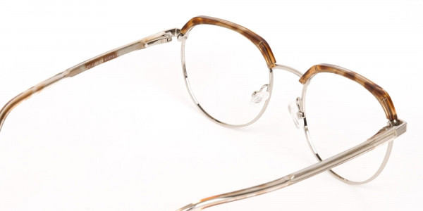 Brown, Honey Tortoise & Silver Browline Glasses-5