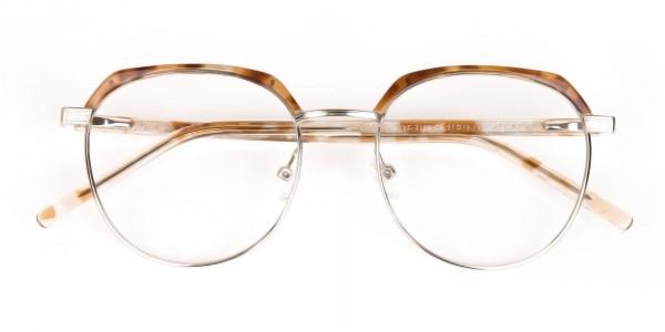 Brown, Honey Tortoise & Silver Browline Glasses-7