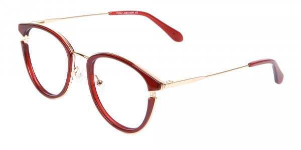 Unisex 50's Round Cat-eye Frame in Red & Gold-3