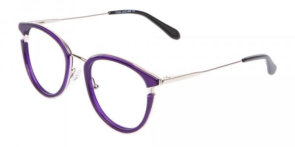 Violet Purple Retro Round Frame-3