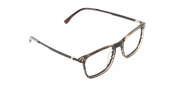 Rectangular Hazelnut Brown Designer Striped Eyeglasses - 2
