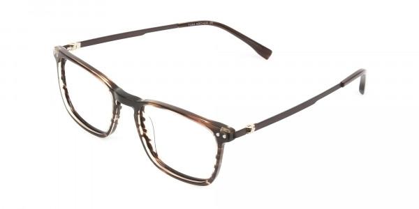 Rectangular Hazelnut Brown Designer Striped Eyeglasses - 3