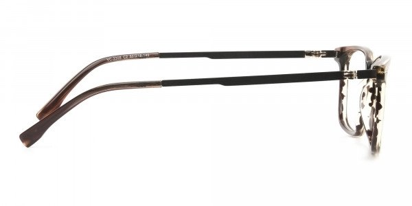 Rectangular Hazelnut Brown Designer Striped Eyeglasses - 4