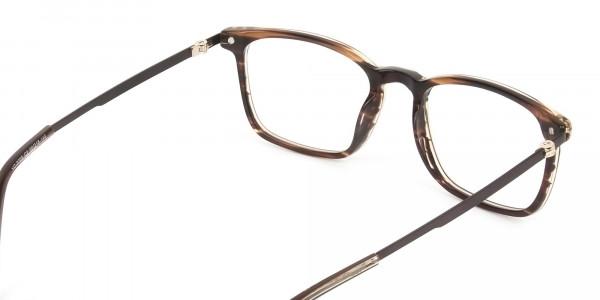 Rectangular Hazelnut Brown Designer Striped Eyeglasses - 5