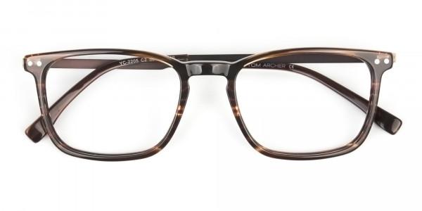 Rectangular Hazelnut Brown Designer Striped Eyeglasses - 6