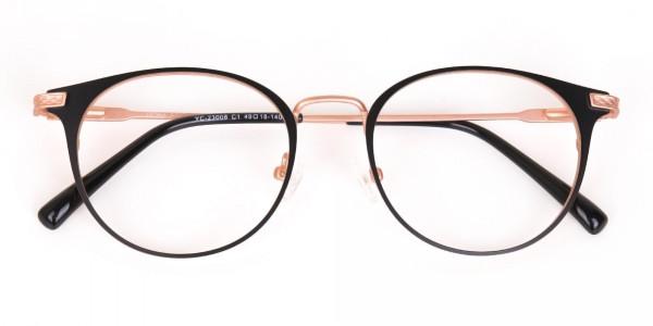 Matte Black & Rose Gold Round Glasses Women-7