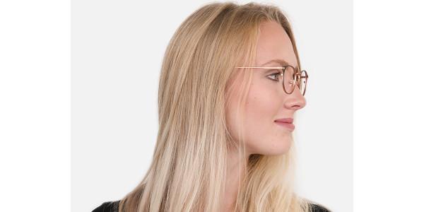 180 image-Matte Black & Rose Gold Round Glasses Women-14