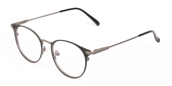 Matte Hunter Green Gunmetal Round Glasses Unisex -3