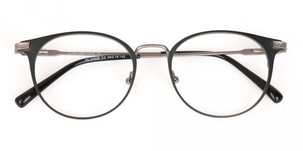 Matte Hunter Green Gunmetal Round Glasses Unisex -7