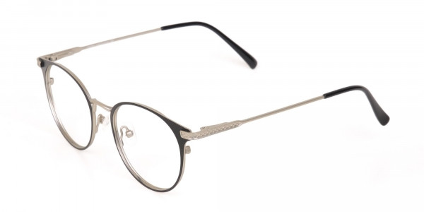 Matte Black and Silver Round Glasses Unisex -3