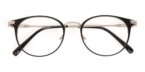 Matte Black and Silver Round Glasses Unisex -7