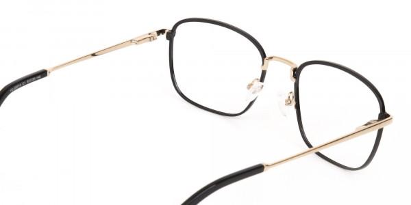 Black Gold Wayfarer Metal Glasses Frame Unisex-5