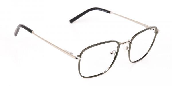 Silver Green Metal Wayfarer Glasses Frame Unisex-2