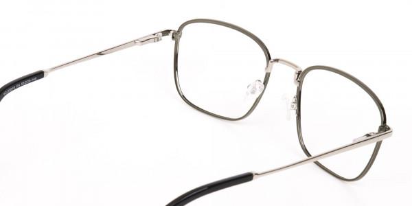 Silver Green Metal Wayfarer Glasses Frame Unisex-5