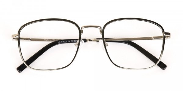 Silver Green Metal Wayfarer Glasses Frame Unisex-6