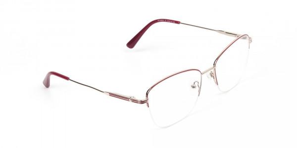 Red & Gold Half Frame Cat Eye Glasses For Women - 2