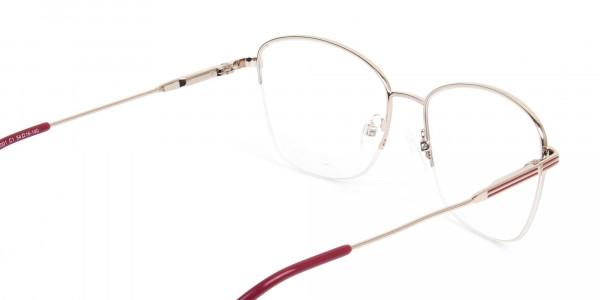 Red & Gold Half Frame Cat Eye Glasses For Women - 5