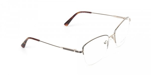 Black & Gold Half Rim Cat Eye Glasses - 2
