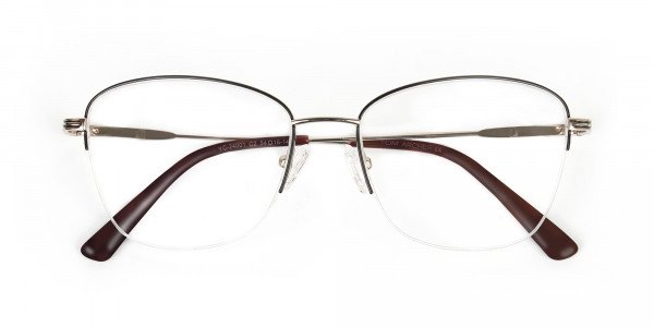 Black & Gold Half Rim Cat Eye Glasses - 6