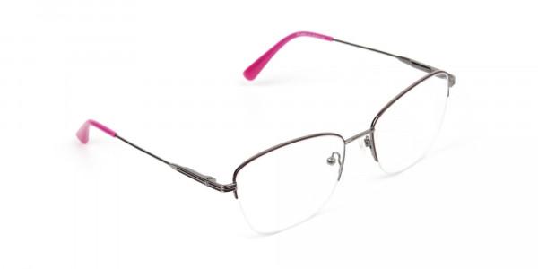 Purple Burgundy Gunmetal Half Cat Eye Glasses -2
