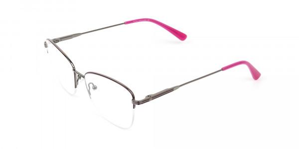 Purple Burgundy Gunmetal Half Cat Eye Glasses - 3