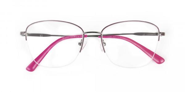 Purple Burgundy Gunmetal Half Cat Eye Glasses - 6